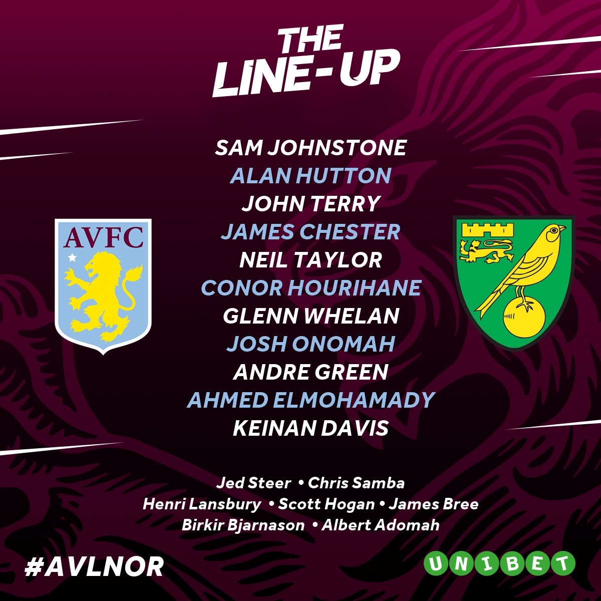 📄✒️ Our first XI + subs for today's #AVLNOR clash…  #PartOfThePride #A...