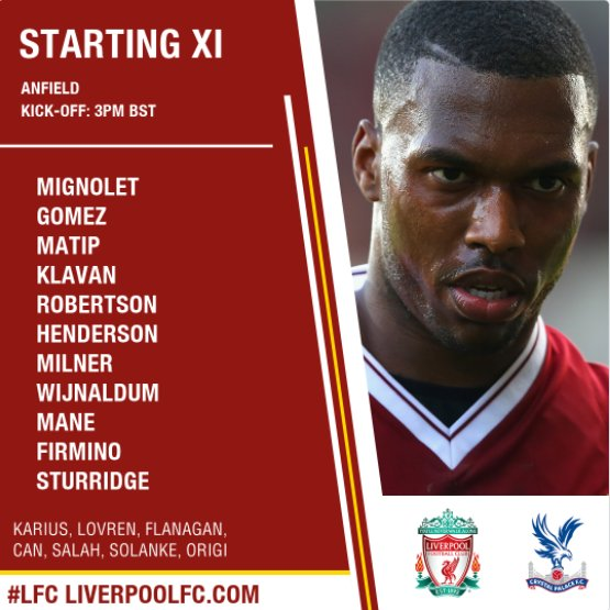 Liverpool's starting XI v Crystal Palace.. WOW - All change! 🌟  Buzzin...