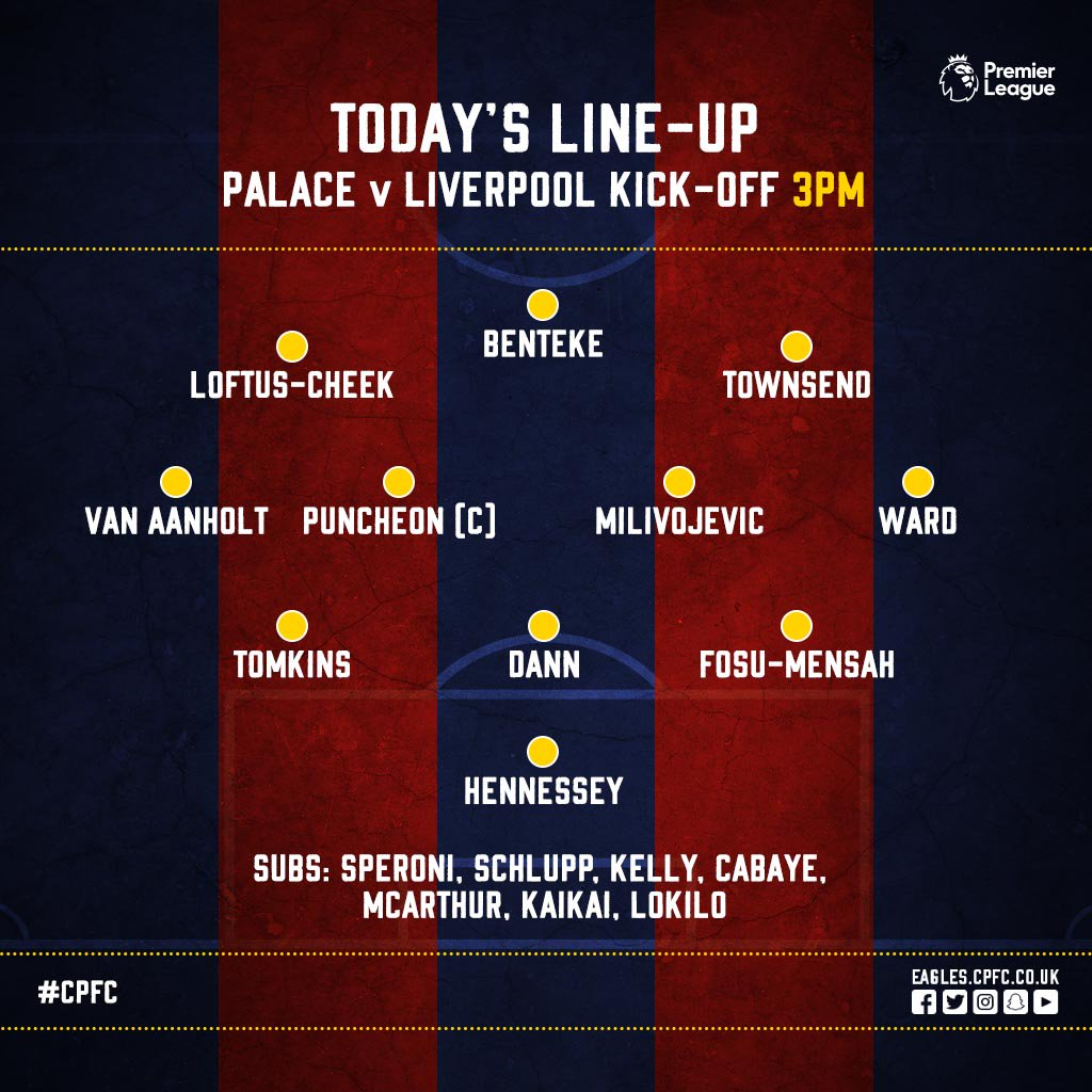 Here's the #CPFC 🦅 team to take on @LFC at Anfield this afternoon.  #L...