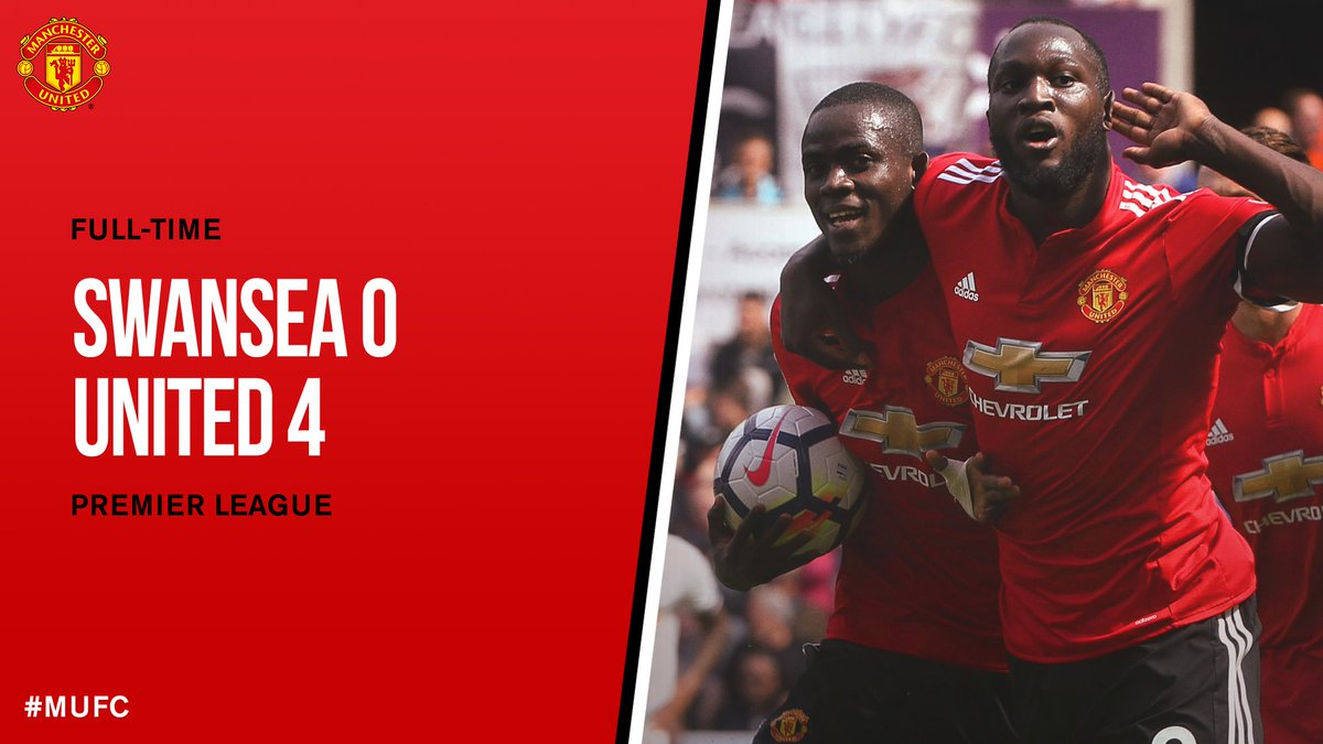 FT: Swansea 0 #MUFC 4.   Three goals in four minutes, as well as @ericbailly24's opener, make it consecutive 4-0 wins in the @premierleague!