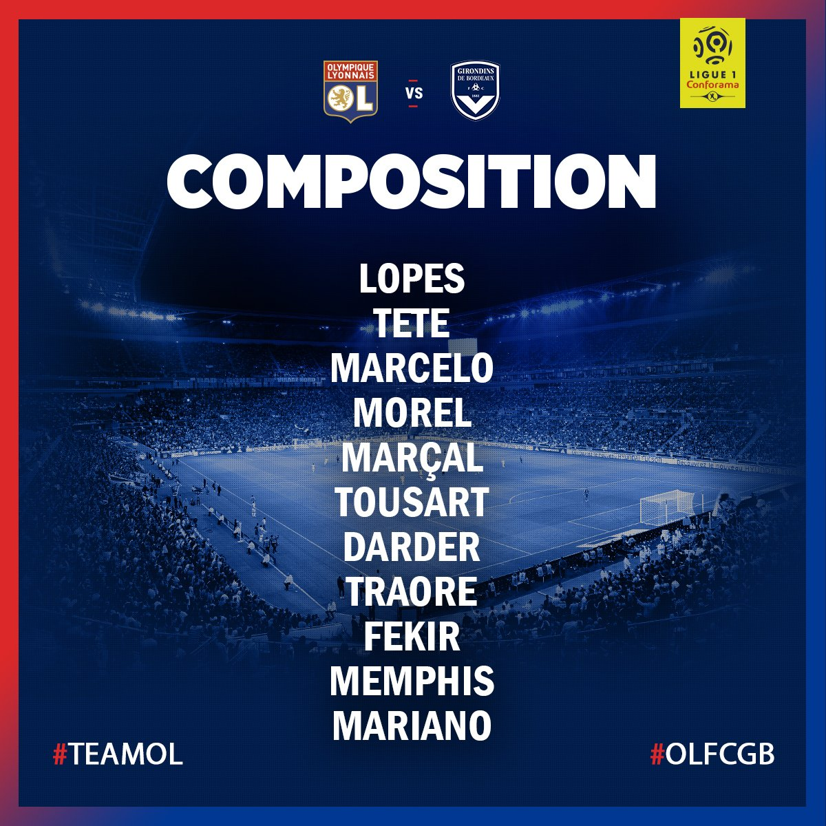 #OLFCGB, la compo !!  #teamOL 🔴🔵 https://t.co/aP7Ib4vQMk