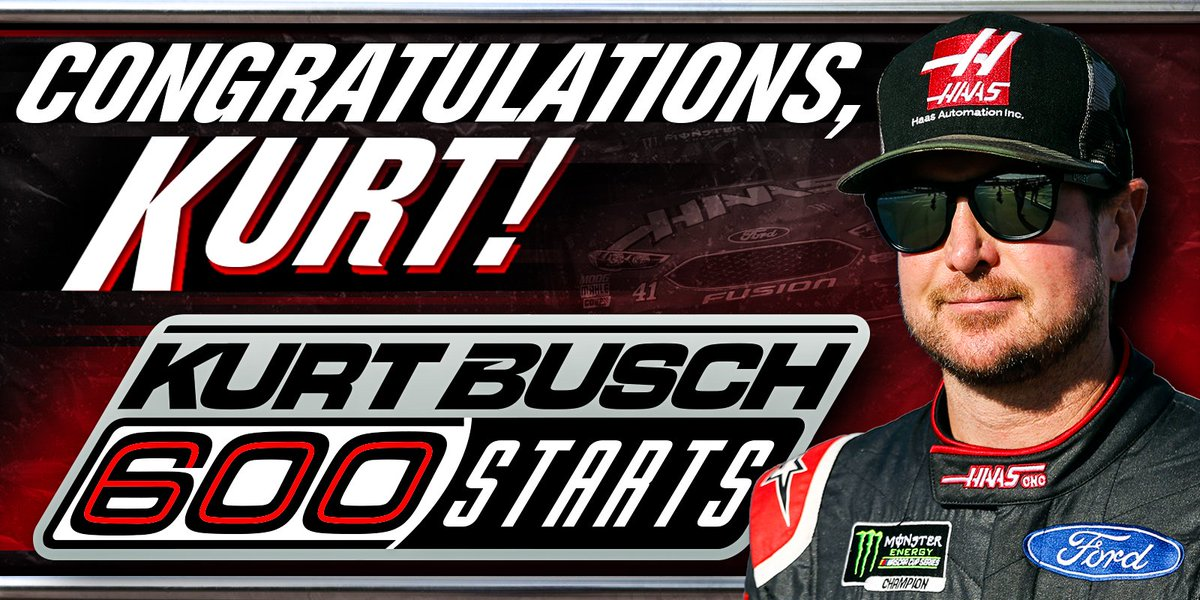 From Late Models to Cup in 1 year back in 2000, he's been a #NASCAR mainstay ever since. Congrats, @KurtBusch, on your 600th MENCS start.