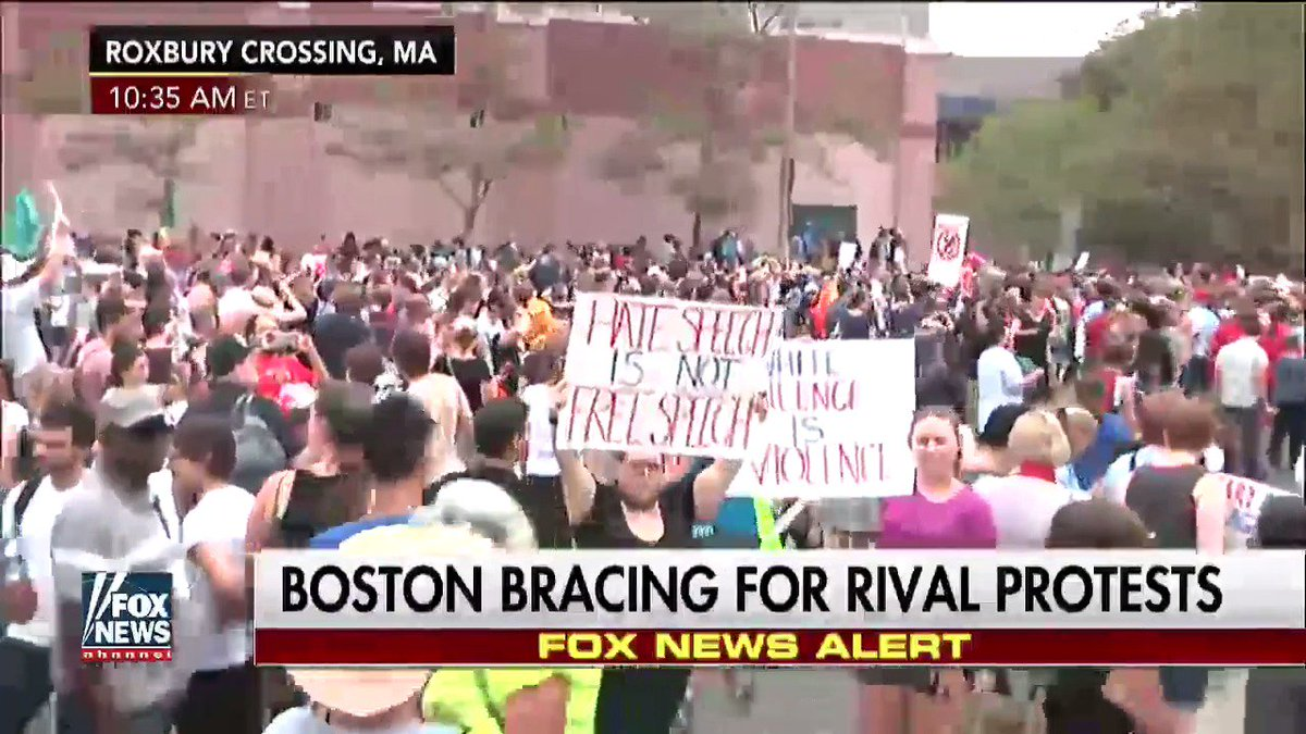 Happening Now: #Boston bracing for rival protests. https://t.co/UbEarE...
