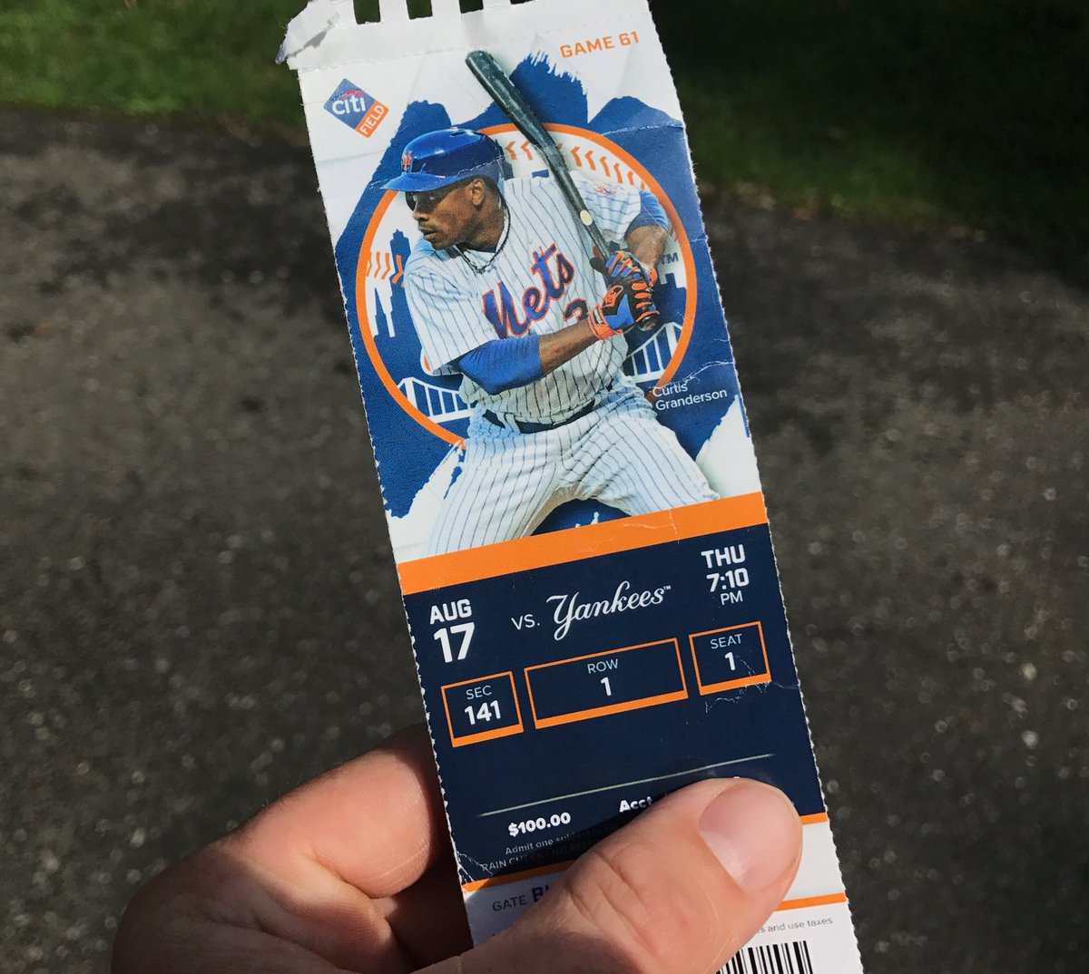 In his last game as a Met, Curtis was on the ticket stub and hit a grand slam against the Yankees.
