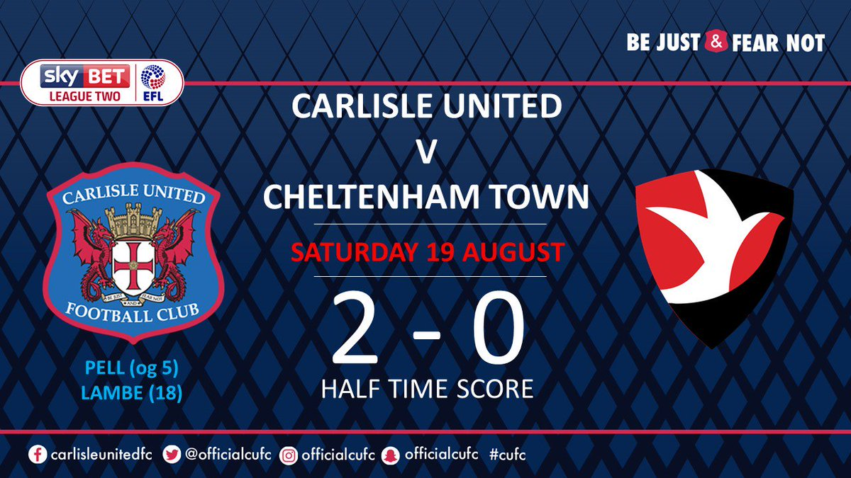 That's half time, we lead 2-0 #cufc https://t.co/0rBPRVhhlL