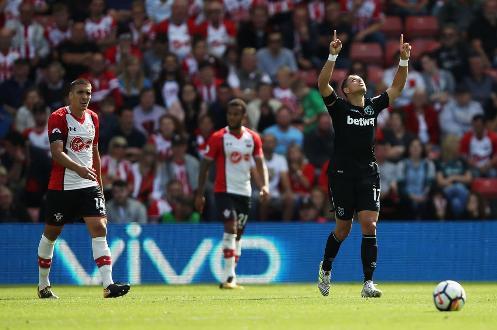 Javier Hernández celebrates his first goal for West Ham.   Slaven Bili...