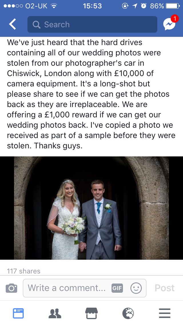 #chiswick #london #help #share My sister &amp; brother in laws wedding photos were stolen on Monday from their photographers car. Please share<br>http://pic.twitter.com/vSHONEcv65