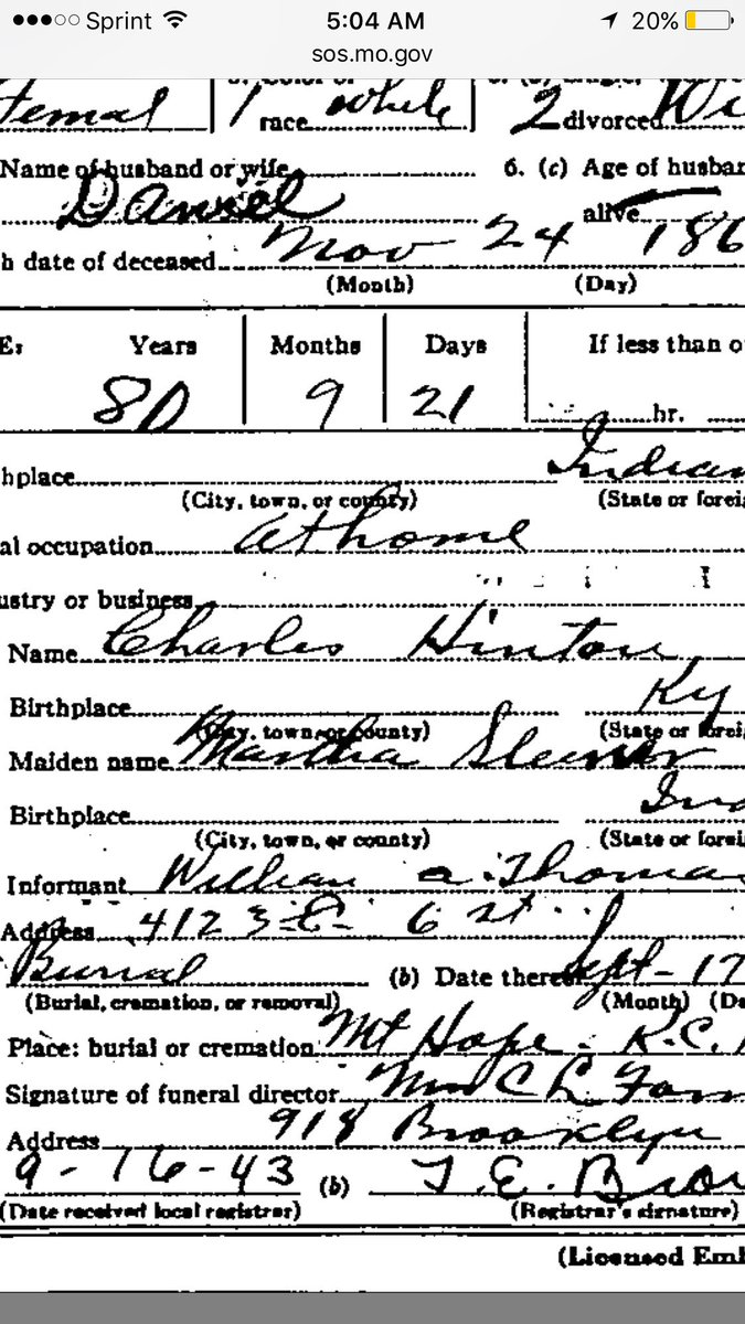 End of line #ancestor. Maiden name says? Others have her written as Fleener, but I&#39;m thinking Sleener? <br>http://pic.twitter.com/Dy0p2IeF6E
