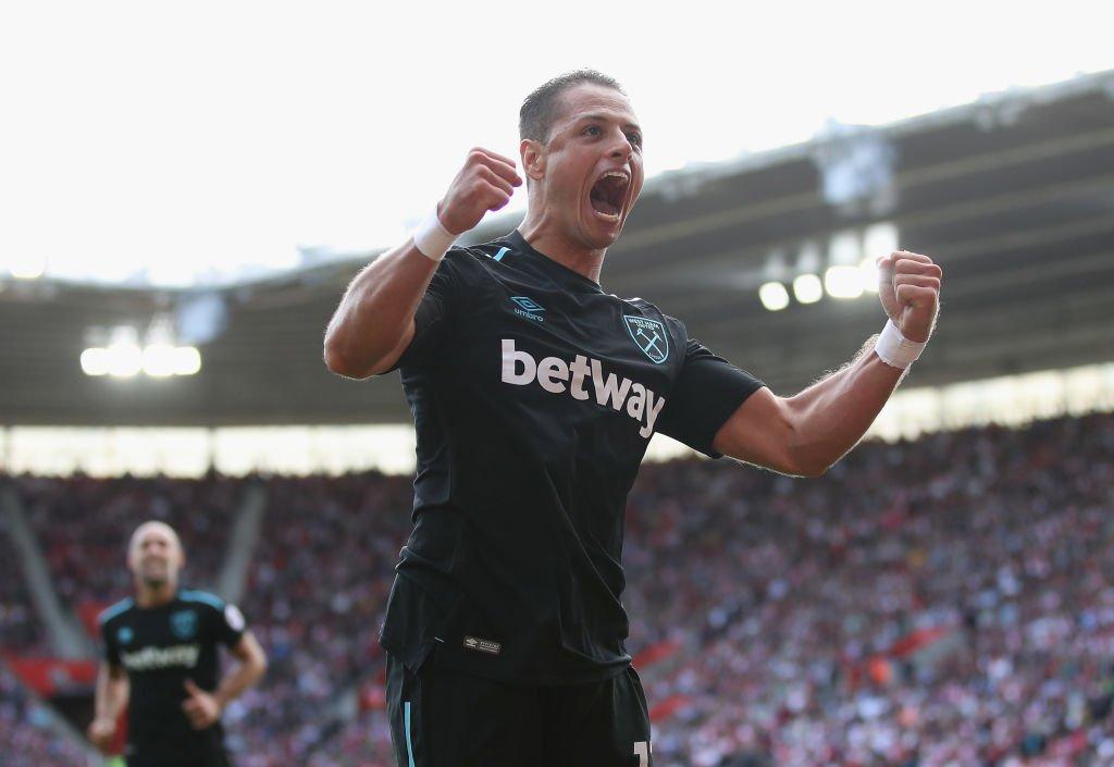 Javier Hernández celebrates his equaliser for West Ham at Southampton....