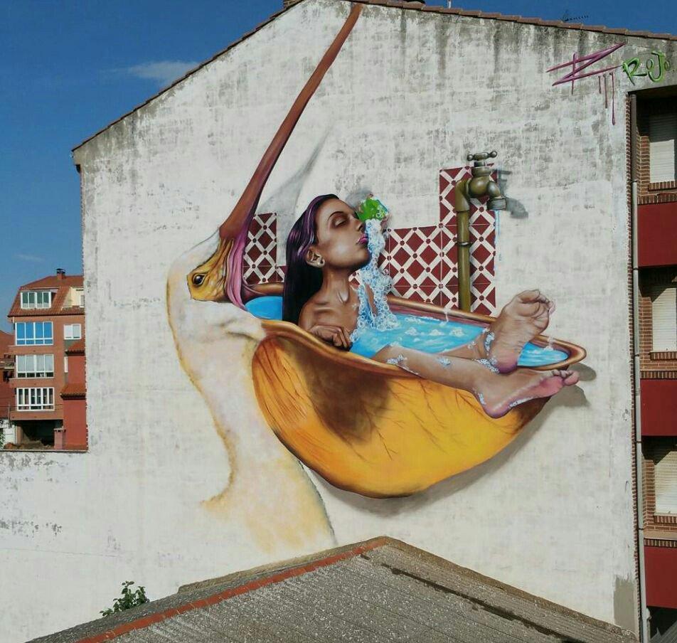 Street art par Rojo Graffiti #Espagne <br>http://pic.twitter.com/PEVnTJrggc