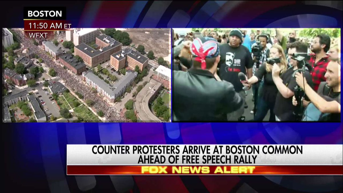Happening Now: Counter protesters arrive at #Boston Common ahead of #F...