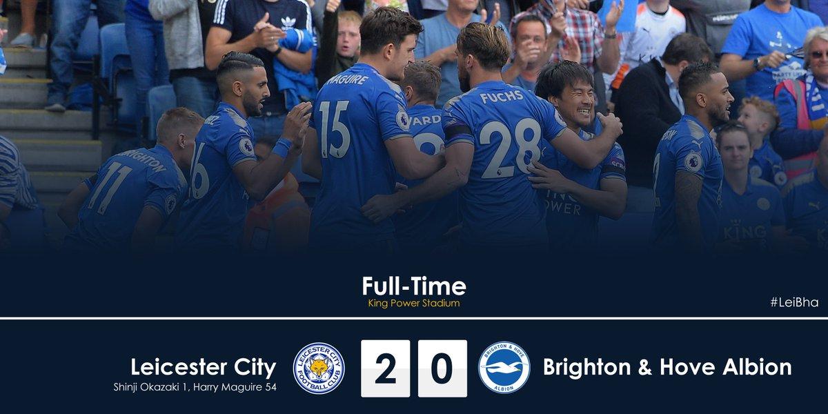Full-Time: Leicester City 2-0 Brighton & Hove Albion.  #LeiBha htt...