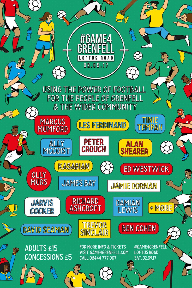 #Game4Grenfell for the people of Grenfell and the wider community ❤️ Buy tickets here and watch it on Sept 2nd.