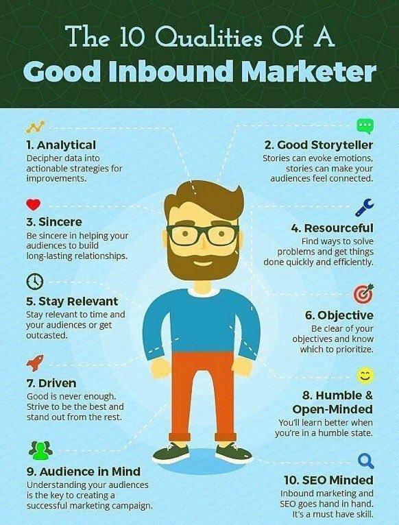 Qualities of #InboundMarketing #SEO #AI #SocialMedia #Contentmarketing #Mpgvip #defstar5 #Makeyourownlane #DigitalMarketing #Marketing #SPDC<br>http://pic.twitter.com/XRbyQWdsm1