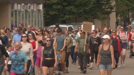 Protesters against white supremacy march in downtown Charlottetown https://t.co/KTu17U1i6j #pei https://t.co/w1pPtBveax
