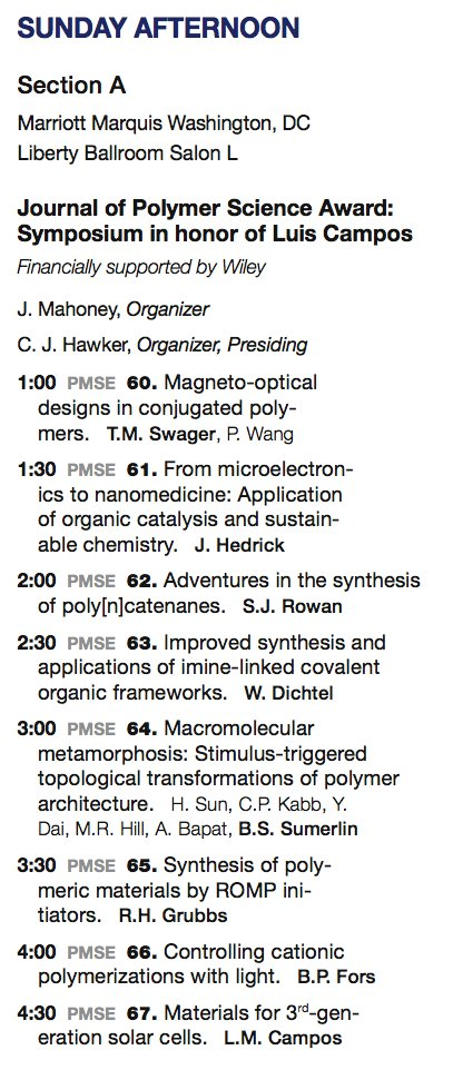 #ACSDC Sunday PM: Journal of Polymer Science Award Symposium in honor of Luis Campos, #polymer #PMSEDC @ACSPMSE @ACSNatlMtg @SoyLuisCampos<br>http://pic.twitter.com/I5O54xLPog