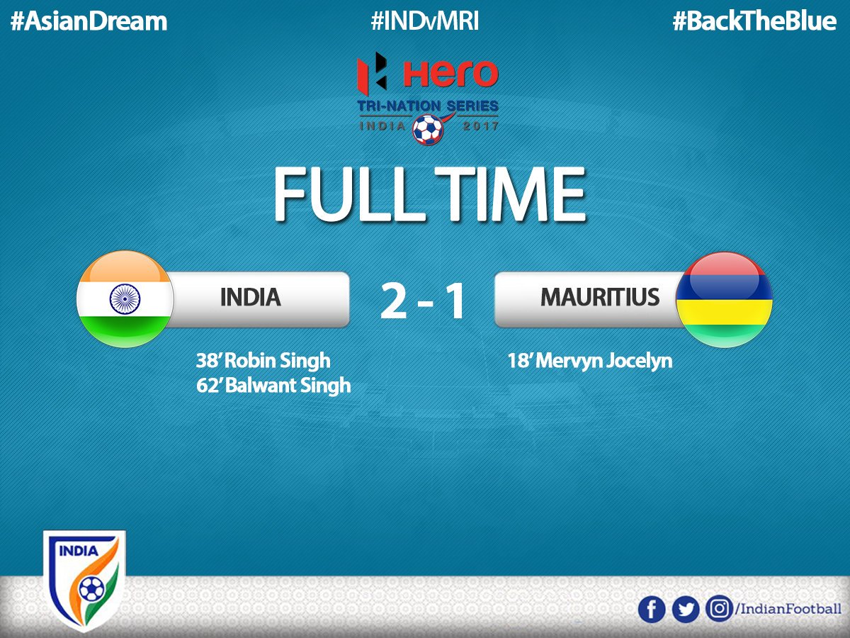 #INDvMRI  Tri-Nation Cup: India beat Mauritius 2-1  #BackTheBlue #BREAKING https://t.co/gnqa0KWol6