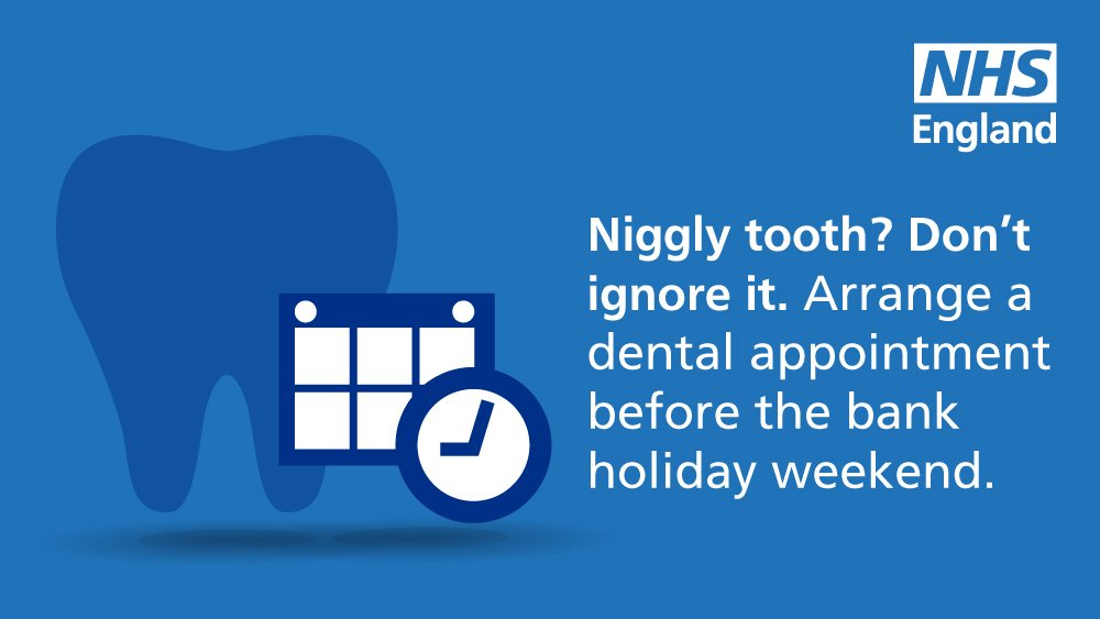 Niggly tooth?  Don't ignore it.  You may still be able to make an urgent dental appointment before the #BankHoliday weekend