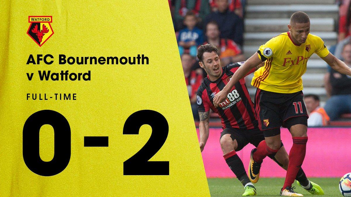 #PremierLeague | #Bournemouth 0 - 2 #Watford. Goles de Richarlison y Capoue. #EPLpic.twitter.com/yw0jsCdq5o