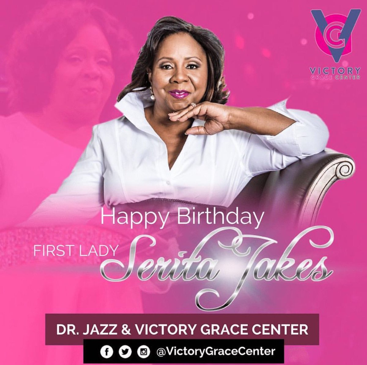 Dr. Jazz and #VGC would like to wish a very Happy Birthday to First Lady Serita Jakes! @iamdrjazz @FirstLadyJakes<br>http://pic.twitter.com/5a0KlJkG1V
