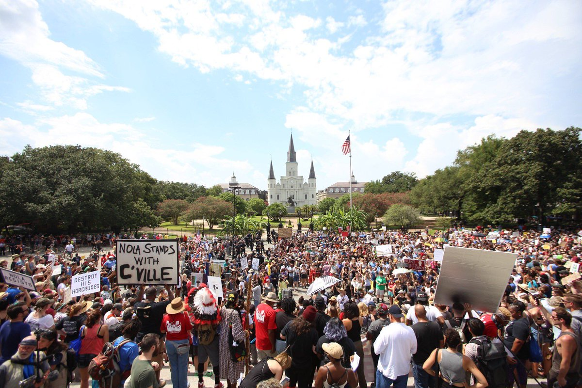 POW! Massive crowd in New Orleans to stand up against hate and white supremacy. #NOLA in #solidarity with #CVille. #TakeEmDownNOLA<br>http://pic.twitter.com/ZyEB6spmKO