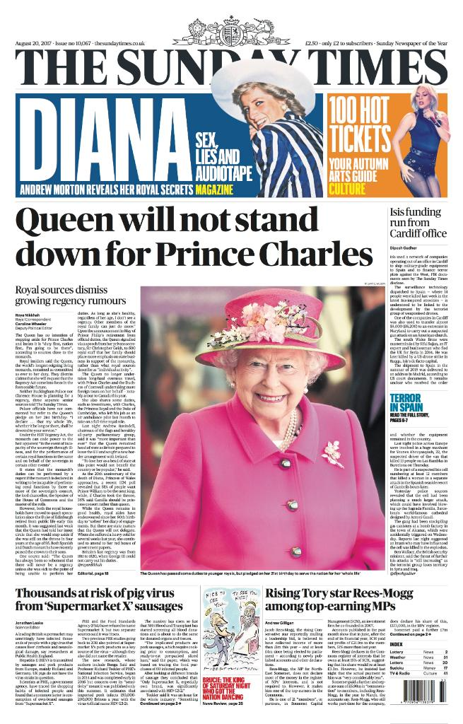 Tomorrow's front page: The Queen will not stand down for Prince Charles #tomorrowspapertoday