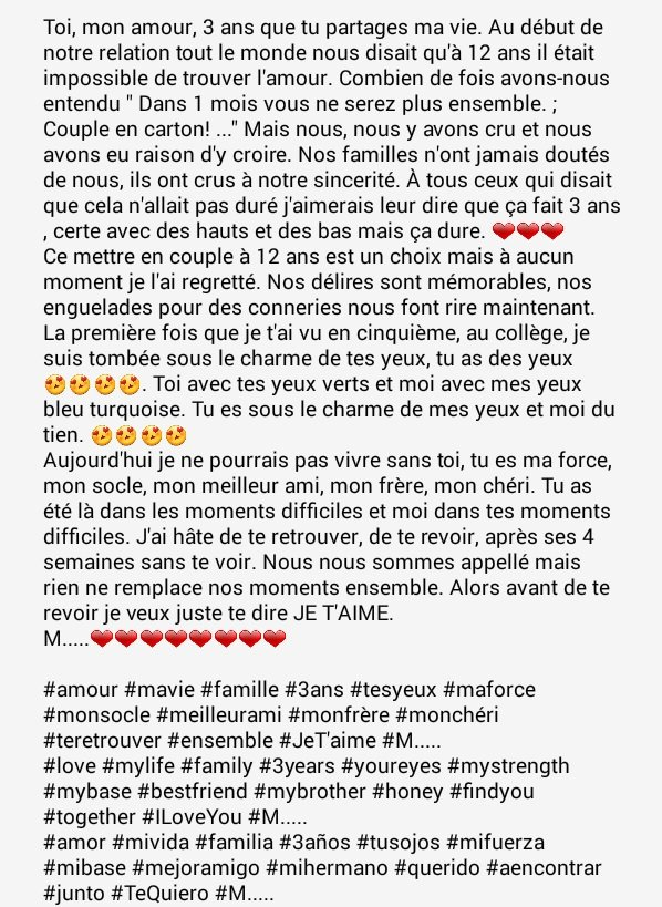 #amour #mavie #famille #3ans  #meilleurami #monfrère #JeT&#39;aime #love #mylife #family #3years #bestfriend #mybrother #ILoveYou<br>http://pic.twitter.com/evoWIh8dLK