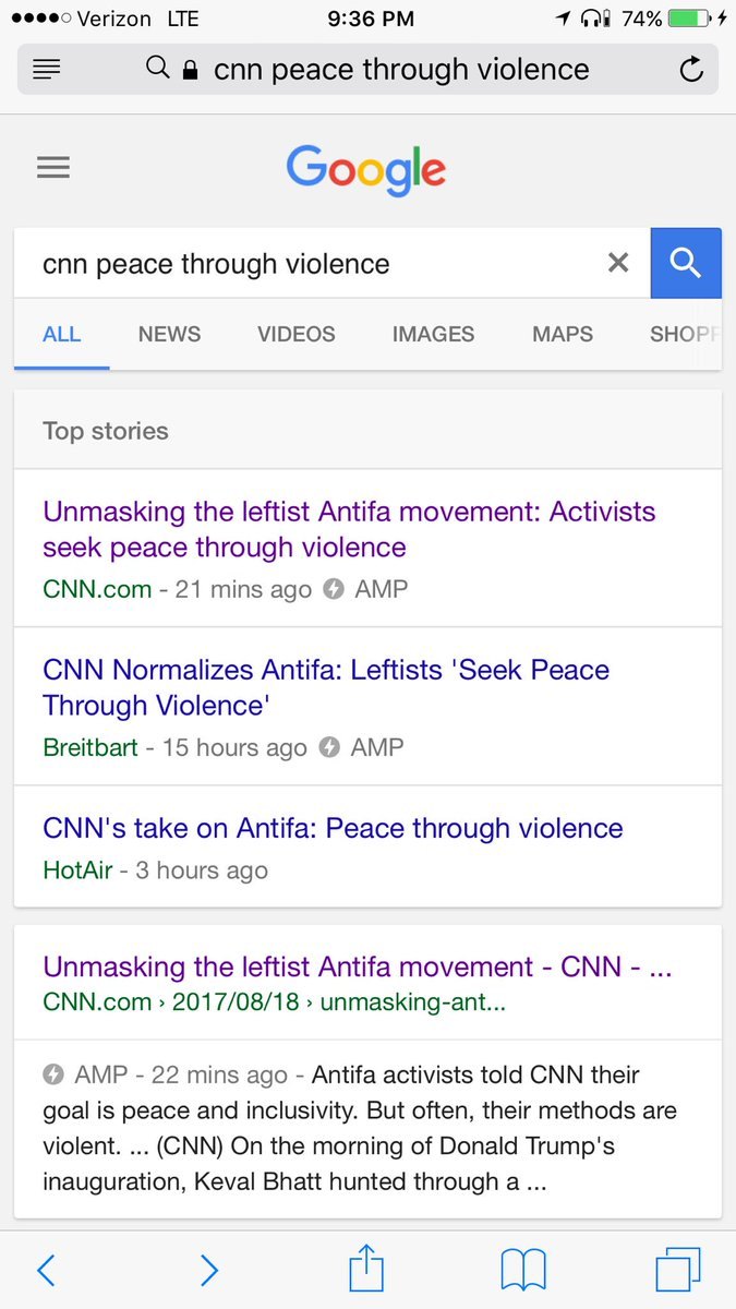 """Lol. @cnn """"updated"""" the headline to remove the claim of """"peace thru violence."""" You can still see it on Google. https://t.co/8rUARJHwmA"""