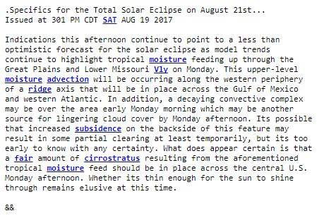 Read a more technical reasoning for why we are expecting some clouds and an explanation of caveats for Monday's #solareclipse
