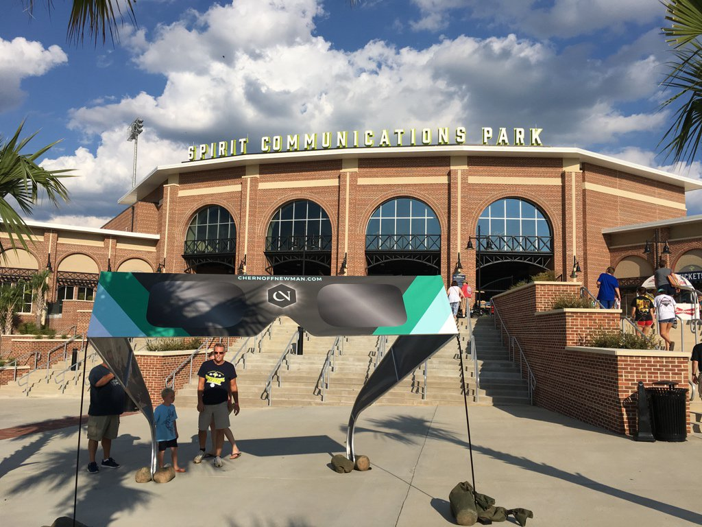 After a 500-mile drive, reached the first stop of the trip, the home of the @ColaFireflies.  Note the giant eclipse glasses in front.