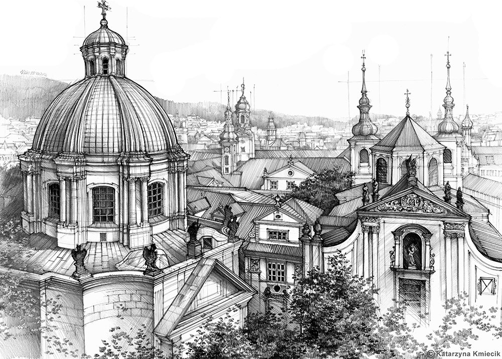 My mixed media #drawing of &#39;Prague over the rooftops&#39;. Prints:  http:// etsy.me/20SwIll  &nbsp;   #Prague #architecture #sketch <br>http://pic.twitter.com/WeTGDtdEmZ
