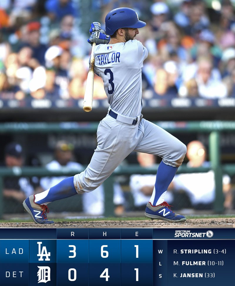 That's a wrap! The #Dodgers defeat the #Tigers 3-0 behind a strong 5 innings from @HyunJinRyu99. #WeLoveLA