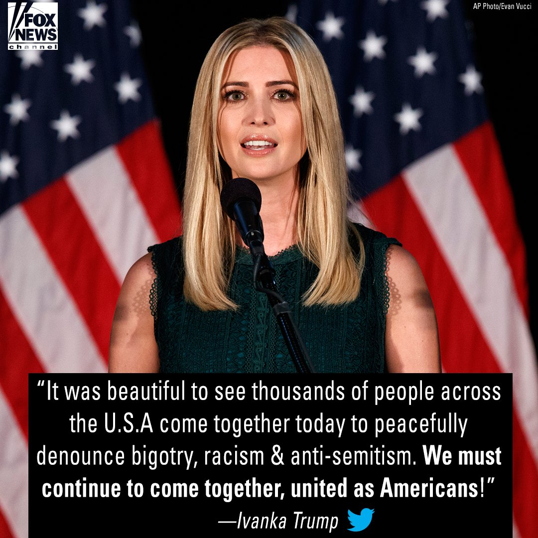 Moments ago @IvankaTrump tweeted about the rallies across the country and how we must come together as Americans.