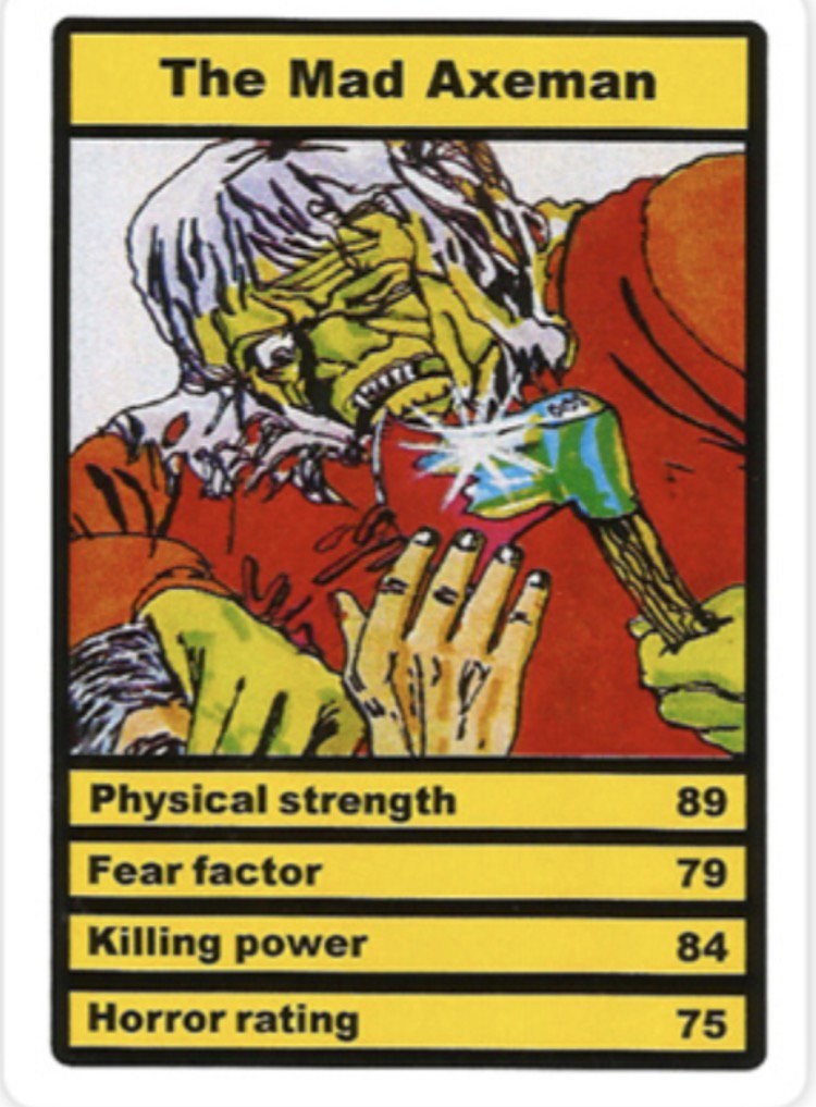 Was reminded by @Knifeworld of Horror Top Trumps. Google images gave me a total nostalgia rush. So I went on eBay and bought a pack.