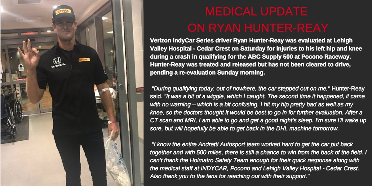 Medical Update on @RyanHunterReay #ABCSupply500 #INDYCAR https://t.co/...