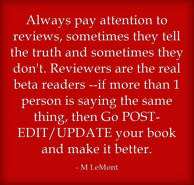 Writers tip Book reviews R the real Beta Readers. Don't be afraid to POST EDIT/UPDATE your books & make them better https://t.co/iTYHdZFch7