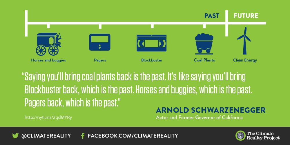 If we're going to bring back coal, why not bring back dial-up internet and cassette tapes, too? Reweet if you agree with @Schwarzenegger.