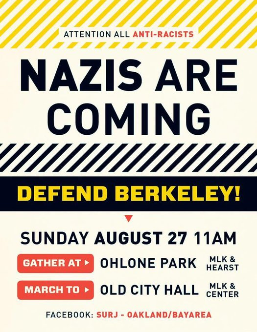 Attention All Anti-Racists – Nazis Are Coming @ Ohlone Park | Berkeley | California | United States