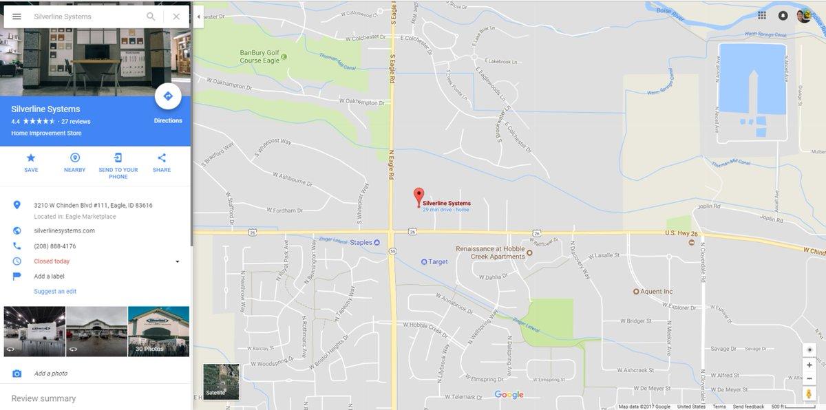 Google Street View goes inside Silverline Systems!  https://www. google.com/maps/place/Sil verline+Systems/@43.6641779,-116.3530445,3a,75y,349h,90t/data=!3m8!1e1!3m6!1sAF1QipNBLQT3pSCJSM2zF6janyh0U-qaWP_Dyr5Zbolh!2e10!3e11!6shttps:%2F%2Flh5.googleusercontent.com%2Fp%2FAF1QipNBLQT3pSCJSM2zF6janyh0U-qaWP_Dyr5Zbolh%3Dw129-h106-k-no-pi-2.9338646-ya216.11203-ro-0-fo100!7i9684!8i4842!4m12!1m6!3m5!1s0x0:0x30a2f03e4782c55e!2sSilverline+Systems!8m2!3d43.6641382!4d-116.3526661!3m4!1s0x0:0x30a2f03e4782c55e!8m2!3d43.6641382!4d-116.3526661 &nbsp; …   #MurphyBed #garagefloors #organize <br>http://pic.twitter.com/xMJ8Cpoda5