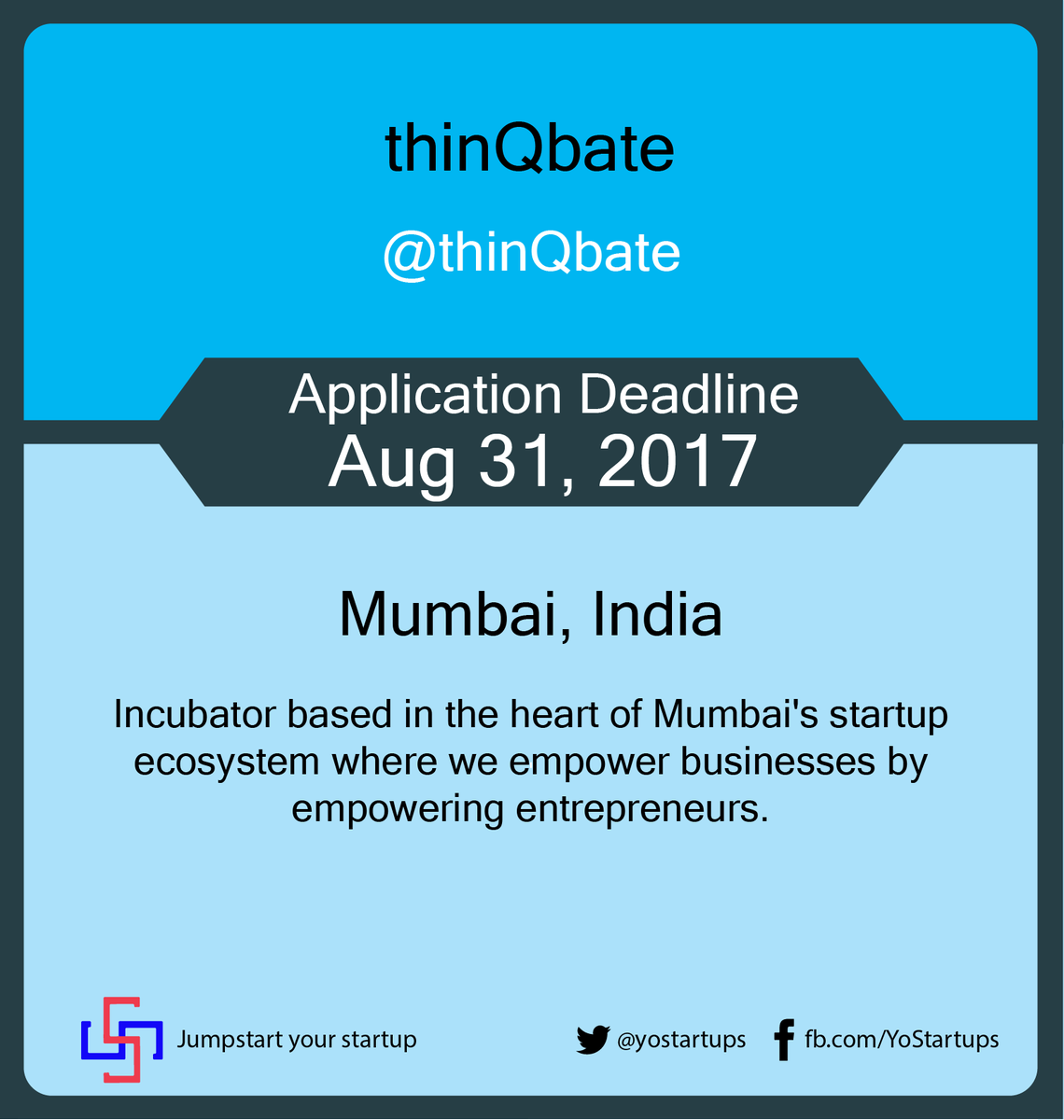 Checkout @thinQbate Empowering businesses by empowering entrepreneurs #accelerator #startups #YoStartups  https:// goo.gl/kZvyQY  &nbsp;  <br>http://pic.twitter.com/Qknsf7tSOA