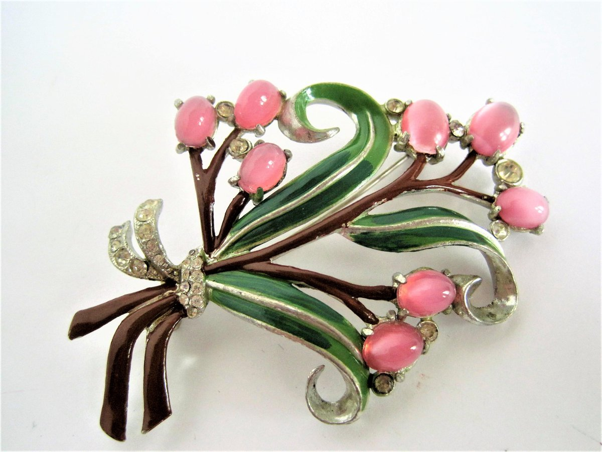 Enamel Bouquet Brooch, Pink Moonstone Cabachons, Rhodium Setting, Green Enamel Leaves  https:// seethis.co/Lm5Md/  &nbsp;   #vintage #midcentury <br>http://pic.twitter.com/YPnQ4JCtfG