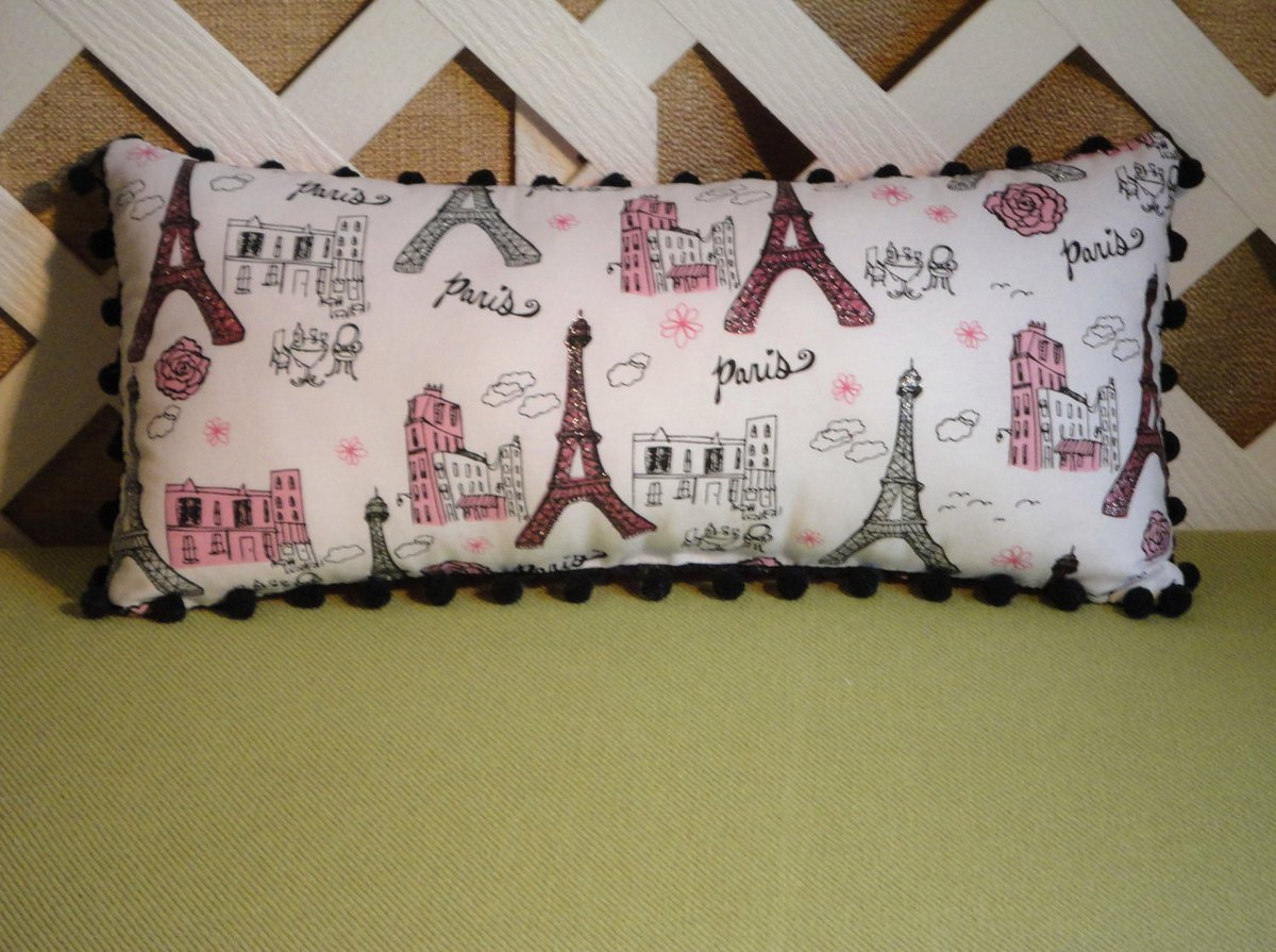 Eiffel Tower Paris Pillow in White Pink and Black with Sparkles..  https:// seethis.co/pknA6/  &nbsp;   #Etsy #pottiteam<br>http://pic.twitter.com/Cp8RgnI47d