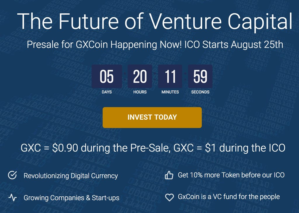 #ICO AUG25, PreSale 10% more #GXC #token ends in 24HR! Join the #VC revolution of this century, reconnecting communities and local business. <br>http://pic.twitter.com/9XFW3k1xl8