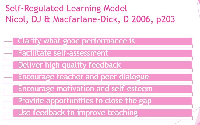 Formative #Assessment and Self-Regulated Learning Model by Nicol, DJ &amp; Macfarlane-Dick, D 2006, p203 #edchat<br>http://pic.twitter.com/VhwfhcGDIH