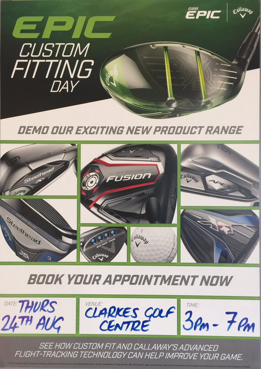 Our @CallawayGolfEU DEMO day is Thurs 24th Aug 3pm-7pm @ClarkesGolf 01744 885294 to book in or more info. Pls RT RT!! #Epic <br>http://pic.twitter.com/pDZJ20WQ6k