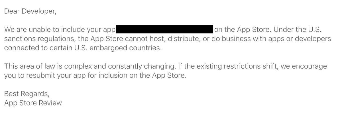 .@Apple has been removing Iranian apps from @AppStore under the US #sanctions regulations! Developers & users are the target not government!
