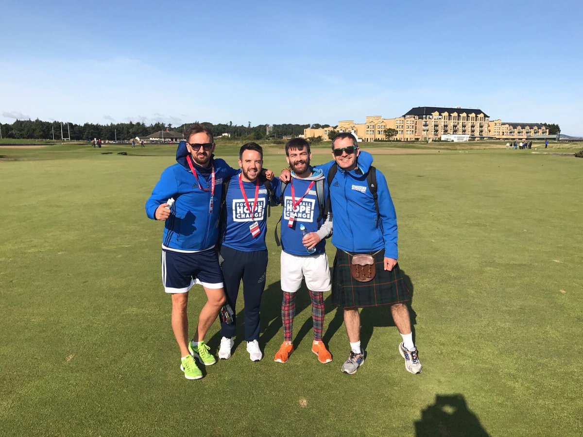 Lovely morning at St Andrews Old Course for the start of @thekiltwalk #Dundee with @streetsoccerSCO 26mile to go<br>http://pic.twitter.com/6asYVp12Aq
