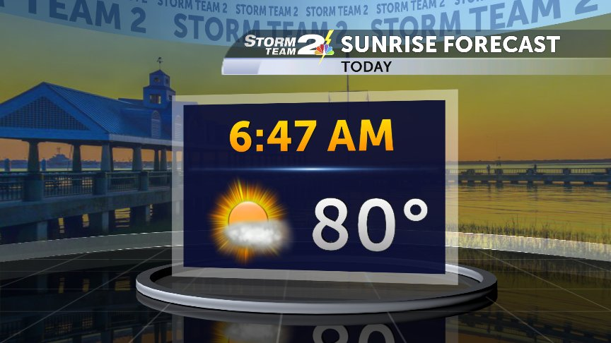 Very warm and muggy to start the day. A few thunderheads could be seen off shore this morning. #chswx #scwx