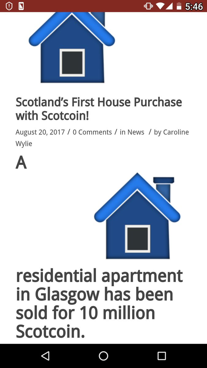 House sold using crypto currency in #Scotland. $scot #scotcoin #CountryCoin $crypto $btc #Brexit #bitcoin $aur $neo  https:// scotcoinproject.com/news/scotlands -first-house-purchase-with-scotcoin/ &nbsp; … <br>http://pic.twitter.com/F4bLonRhV3