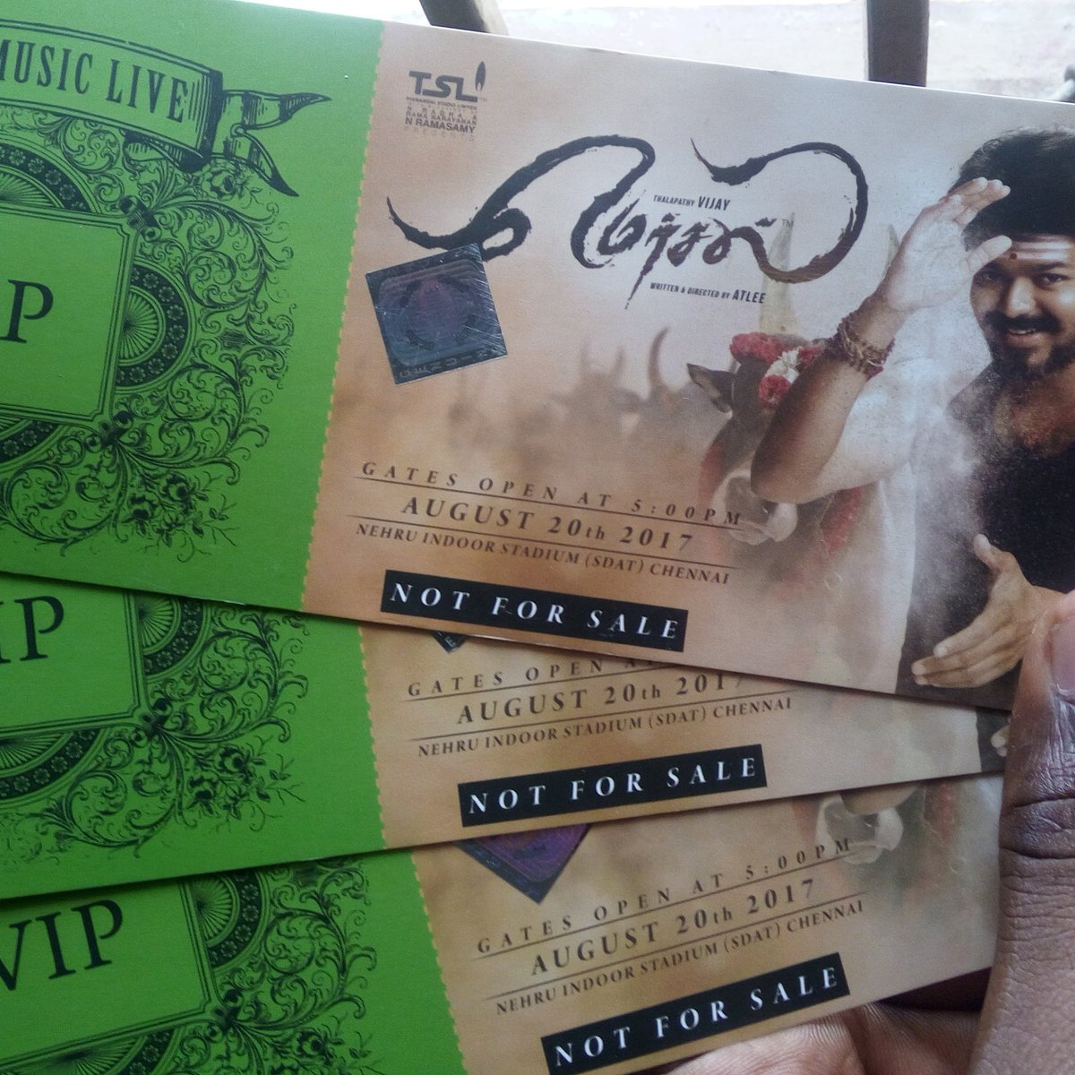 Can&#39;t better than this, got #MERSAL  Audio Launch #VIP Passes   #Thalapathy25 #ARR25 #TSL100  #MersalMusicLive    HISTORIC MERSAL AUDIO<br>http://pic.twitter.com/v2jXKMTiBN
